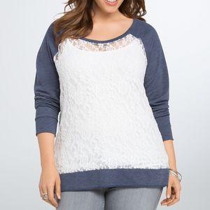 Torrid Sheer Floral Lace Front Hi-Lo Sweatshirt 3